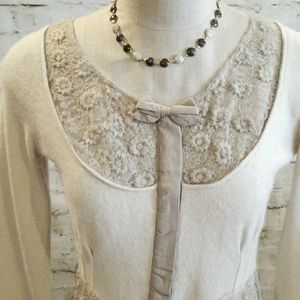 ▪Anthropologie▪Lace-trimmed Cardigan